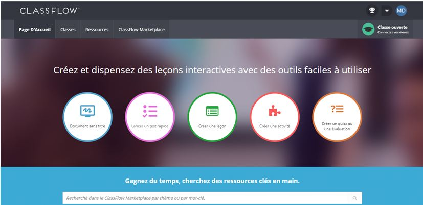 ClassFlow – interface du compte enseignant