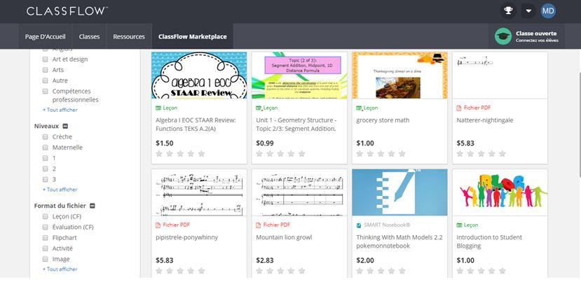 Exemple de ressources payantes sur ClassFlow